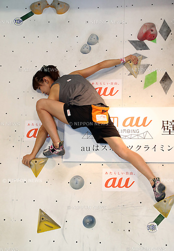 "August 9, 2016, Tokyo, Japan - Japan's  top sport-climbing athlete Akiyo Noguchi performs as she and other three athletes Tomoa Narasaki, Miho Nonaka and Kokoro Fujii form the ""Team au"", supported by KDDI at a presentation in Tokyo on Tuesday, August 9, 2016. IOC decided recently that sport-climbing would be one of the eight sports for the Tokyo 2020 Olympic Games additional events.    (Photo by Yoshio Tsunoda/AFLO) LWX -ytd-"