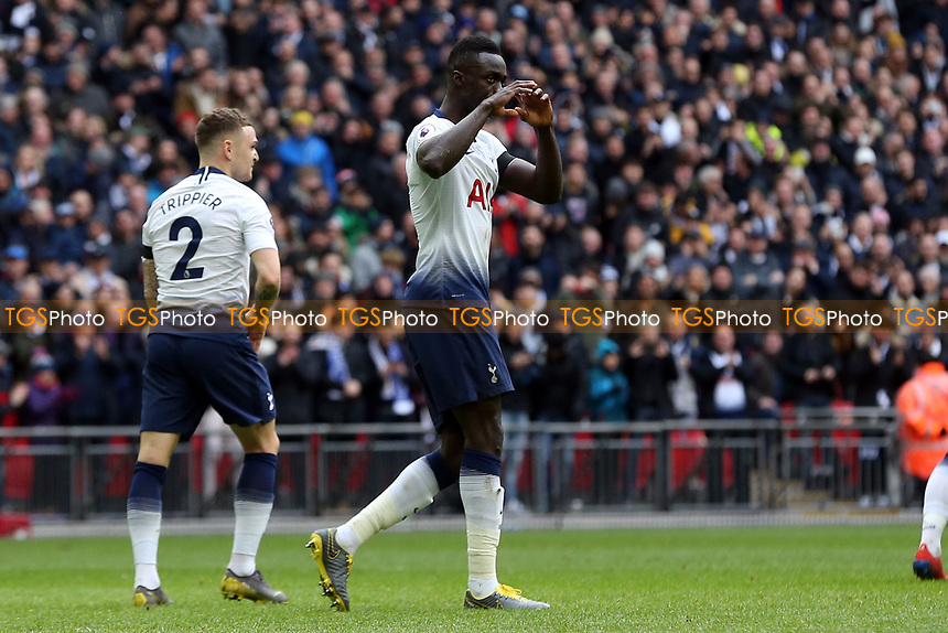 Davinson Sanchez of Tottenham Hotspur celebrates scoring the first goal during Tottenham Hotspur vs Leicester City, Premier League Football at Wembley Stadium on 10th February 2019