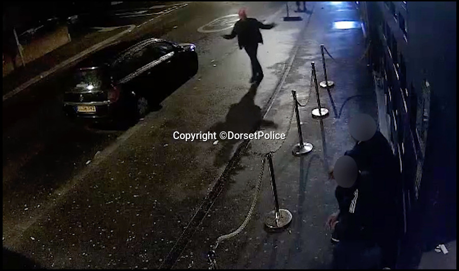 BNPS.co.uk (01202 558833)Pic: DorsetPolice/BNPS<br /> <br /> A screenshot of CCTV footage showing Kevin Boyle start an altercation with two bouncers at the Camel Club, in Bournemouth at around 4:15 am on Friday 18th August 2017.<br /> <br /> A knife maniac who nearly killed an innocent bystander he mistook for someone he had a row with because both men had ginger hair was today jailed for 21 years.<br /> <br /> Kevin Boyle waited outside a Bournemouth nightclub for the red-headed reveller who had shoved him two hours earlier to appear.<br /> <br /> When clubber Glen Morrant walked out Boyle began to follow him by mistake because he was wearing similar clothes to the first man and also had ginger hair.<br /> <br /> Boyle slashed the 19-year-old by the throat. He was sentenced today at Winchester Crown Court.