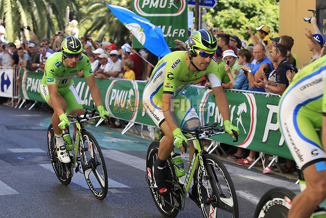 Cannondale team in action during Stage 4 of the 100th Edition of the Tour de France 2013 a 25k Team Time Trial around Nice. 2nd July 2013.<br /> (Photo: Eoin Clarke/ www.newsfile.ie)