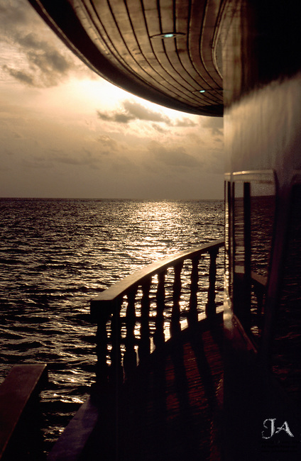 Sunset in the Maldives on the boat Manthiri