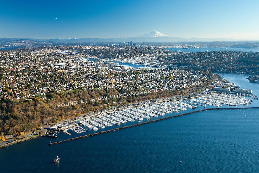 Aerial photo of Shilshole Marina on Puget Sound in Seattle
