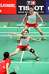 Ayaka Takahashi & Misaki Matsutomo (JPN), <br /> AUGUST 27, 2018 - Badminton : <br /> Women's Doubles Final <br /> at Gelora Bung Karno Istora <br /> during the 2018 Jakarta Palembang Asian Games <br /> in Jakarta, Indonesia. <br /> (Photo by Naoki Nishimura/AFLO SPORT)