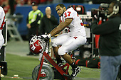 January 5th, 2008:  Rutgers fullback Adres Morales (37) looks to the JumboTron as he stays warm on a bike during the third quarter of the International Bowl at the Rogers Centre in Toronto, Ontario Canada...Rutgers defeated Ball State 52-30.  ..Photo By:  Mike Janes Photography