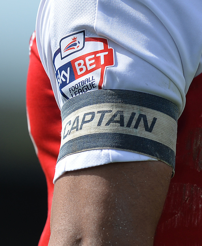 A close up of a Captain's armband<br /> <br /> Photographer Dave Howarth/CameraSport<br /> <br /> Football - The Football League Sky Bet League One - Fleetwood Town v Blackpool - Saturday 23rd April 2016 - Highbury Stadium - Fleetwood  <br /> <br /> &copy; CameraSport - 43 Linden Ave. Countesthorpe. Leicester. England. LE8 5PG - Tel: +44 (0) 116 277 4147 - admin@camerasport.com - www.camerasport.com