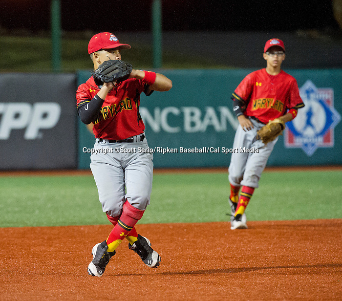 August 13, 2014: Scenes from Maryland's 5-2 win against New England (Danbury, CT) during the Cal Ripken 12u 70-foot World Series at the Ripken Experience powered by Under Armour in Aberdeen, Maryland on August 13, 2014. Scott Serio/Ripken Baseball/CSM