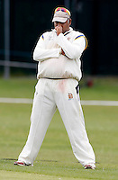 Wembley captain Chula De Silva in deep contemplation during the Middlesex Cricket League Division Two game between Brondesbury and Wembley at Harman Drive, London on Sat Aug 1, 2015
