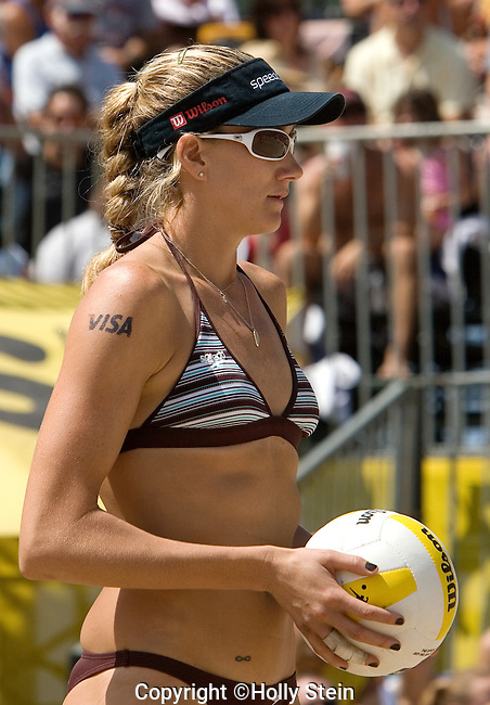 Kerri Walsh gets ready to serve during the AVP Manhattan Beach Open.