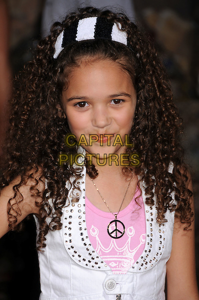 "MADISON PETTIS.""Wall-E"" World Premiere at the Greek Theatre, Los Angeles, California, USA..June 21st, 2008.headshot portrait peace necklace hairband black white pink .CAP/ADM/BP.©Byron Purvis/AdMedia/Capital Pictures."