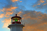 Images of The Canadian Maritime Provinces of Nova Scotia and Prince Edward Island. Lighthouse at Peggy's Cove, Nova Scotia, Canada. Sunrise