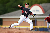 Batavia Muckdogs relief pitcher Brent Wheatley (30) during the first game of a doubleheader against the Mahoning Valley Scrappers on August 17, 2016 at Dwyer Stadium in Batavia, New York.  Mahoning Valley defeated Batavia 10-3. (Mike Janes/Four Seam Images)