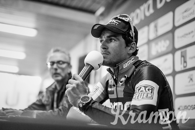 Greg Van Avermaet (BEL/BMC) at the winners post-race press conference<br /> <br /> 60th E3 Harelbeke (1.UWT)<br /> 1day race: Harelbeke &rsaquo; Harelbeke - BEL (206km)