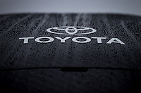 Sept. 20, 2013; Ennis, TX, USA: Rain drops on top of the Toyota display funny car at the Toyota display during the Fall Nationals at the Texas Motorplex. Mandatory Credit: Mark J. Rebilas-