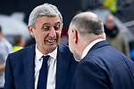 Coach Pablo Laso of Real Madrid and coach Svetislav Pesic of FC Barcelona Lassa during Turkish Airlines Euroleague match between Real Madrid and FC Barcelona Lassa at Wizink Center in Madrid, Spain. December 13, 2018. (ALTERPHOTOS/Borja B.Hojas)