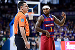 FC Barcelona Lassa's Tyrese Rice talking with the referee during Liga Endesa match between Real Madrid and FC Barcelona Lassa at Wizink Center in Madrid, Spain. March 12, 2017. (ALTERPHOTOS/BorjaB.Hojas)
