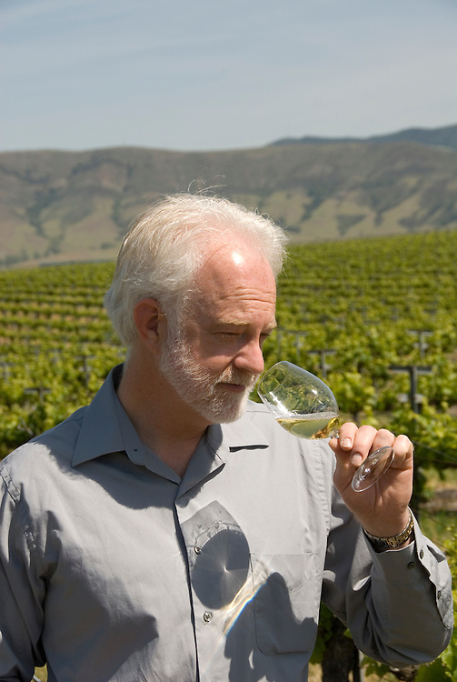 California, San Luis Obispo County: Winemaker Harry Hansen at Edna Valley Vineyards, noted for his Chardonnay. Model released..Photo caluis104-70749..Photo copyright Lee Foster, www.fostertravel.com, 510-549-2202, lee@fostertravel.com