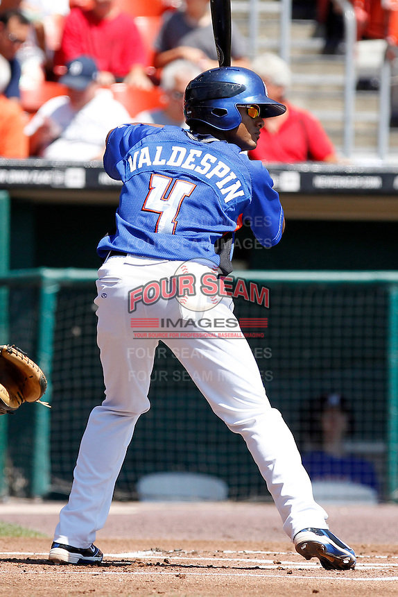 Buffalo Bisons infielder Jordany Valdenspin #4 during a game against the Toledo Mudhens at Coca-Cola Field on August 17, 2011 in Buffalo, New York.  Buffalo defeated Toledo 4-2.  (Mike Janes/Four Seam Images)