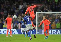 Huddersfield Town's Fraizer Campbell beats Cardiff City's Leandro Bacuna to the header <br /> <br /> Photographer Ian Cook/CameraSport<br /> <br /> The EFL Sky Bet Championship - Cardiff City v Huddersfield Town - Wednesday August 21st 2019 - Cardiff City Stadium - Cardiff<br /> <br /> World Copyright © 2019 CameraSport. All rights reserved. 43 Linden Ave. Countesthorpe. Leicester. England. LE8 5PG - Tel: +44 (0) 116 277 4147 - admin@camerasport.com - www.camerasport.com