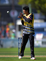 Wellington's Rachin Ravindra prepares to bowl during the Dream11 Super Smash cricket match between the Wellington Firebirds and Canterbury Kings at Basin Reserve in Wellington, New Zealand on Thursday, 9 January 2020. Photo: Dave Lintott / lintottphoto.co.nz