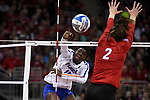 KANSAS CITY, MO - DECEMBER 16: Shaïnah Joseph (15) of the University of Florida spikes the ball past Mikaela Foecke (2) of University of Nebraska during the Division I Women's Volleyball Championship held at Sprint Center on December 16, 2017 in Kansas City, Missouri. (Photo by Jamie Schwaberow/NCAA Photos via Getty Images)