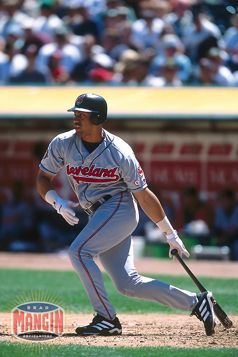 OAKLAND, CA - Juan Gonzalez of the Cleveland Indians in action during a game against the Oakland Athletics at the Oakland Coliseum in Oakland, California in 2001. Photo by Brad Mangin