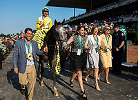 ELMONT, NY - JUNE 10: Jose Ortiz, aboard Ascend #5, holds up one finger as he is led to the winner's cricle after winning the Woodford Reserve Manhattan Stakes on Belmont Stakes Day at Belmont Park on June 10, 2017 in Elmont, New York (Photo by Jesse Caris/Eclipse Sportswire/Getty Images)
