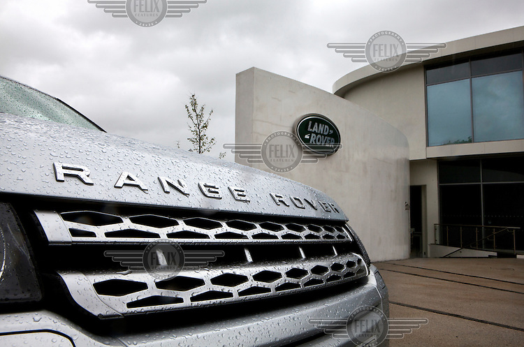 A range Rover vehicle outside the visitor centre at Land Rover plant in Solihull.