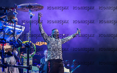 Earth Wind & Fire - vocalist Phillip Bailey - performing live at the Royal Albert Hall London UK - 19 October 2013.  Photo credit: Iain Reid/IconicPix