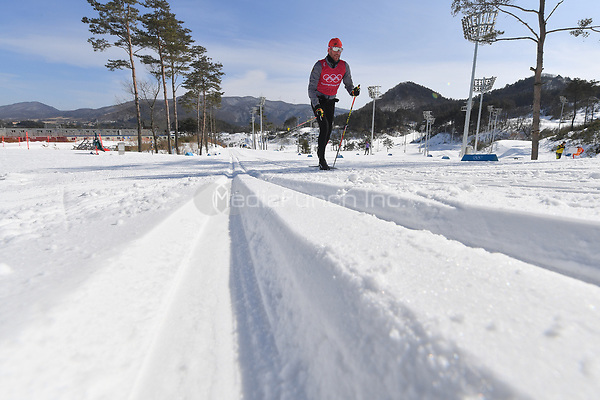 Andreas Katz from Germany in action during training in the Alpensia Cross-country Skiing Centre in Pyeongchang, South Korea, 07 February 2018. The Pyeongchang 2018 Winter Olympics take place between 09 and 25 February. Photo: Hendrik Schmidt/dpa-Zentralbild/dpa /MediaPunch ***FOR USA ONLY***