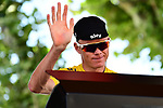 Yellow Jersey Christopher Froome (GBR) Team Sky at sign on before Stage 16 of the 104th edition of the Tour de France 2017, running 165km from Le Puy-en-Velay to Romans-sur-Isere, France. 18th July 2017.<br /> Picture: ASO/Alex Broadway | Cyclefile<br /> <br /> <br /> All photos usage must carry mandatory copyright credit (&copy; Cyclefile | ASO/Alex Broadway)