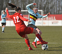 20180221 - TUBIZE , BELGIUM : Belgian Stephanie Pirotte (R) and Czech Republican Adela Machutkova (L) pictured during the friendly female soccer match between Women under 17 teams of  Belgium and Czech Republic , in Tubize , Belgium . Wednesday 21th February 2018 . PHOTO SPORTPIX.BE DIRK VUYLSTEKE