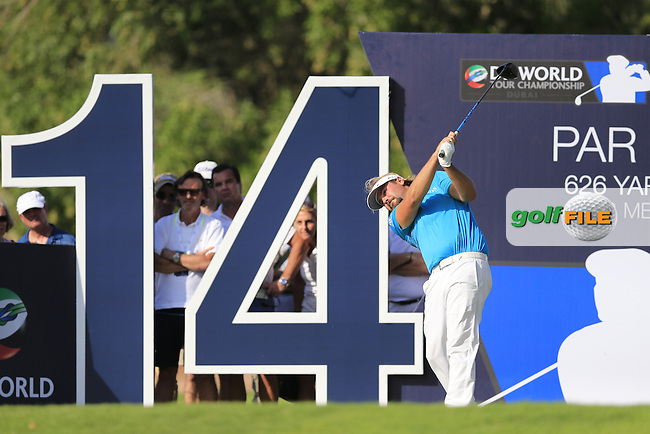 Victor Dubuisson (FRA) on the 14th tee during Round 1 of the DP World Tour Championship at the Earth course,  Jumeirah Golf Estates in Dubai, UAE,  19/11/2015.<br /> Picture: Golffile | Thos Caffrey<br /> <br /> All photo usage must carry mandatory copyright credit (&copy; Golffile | Thos Caffrey)