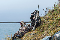 Guide Mark Vander Zanden with Four Flyways Outfitters hunts brant in Cold Bay, Alaska, Wednesday, November 2, 2016. The Izembek National Wildlife Refuge lies on the northwest coastal side of central Aleutians East Borough along the Bering Sea. Birds hunted include the long tailed duck, the Steller's Eider, the Harlequin, the King Eider and Brant.<br /> <br /> Photo by Matt Nager