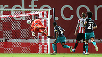 Rhian Brewster scores Swansea's opening goal of the match as he lobs the ball over Brentford goalkeeper, David Raya during Brentford vs Swansea City, Sky Bet EFL Championship Play-Off Semi-Final 2nd Leg Football at Griffin Park on 29th July 2020