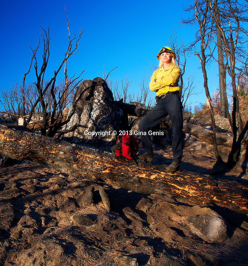 Tammy Fogle at the burn site near the start of the Mountain Fire