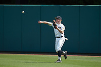 Army Black Knights right fielder Drake Titus (4) throws the ball back to the infield during the game against the North Carolina State Wolfpack at Doak Field at Dail Park on June 3, 2018 in Raleigh, North Carolina. The Wolfpack defeated the Black Knights 11-1. (Brian Westerholt/Four Seam Images)