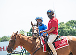 July 24,2020: Ricardo Santana, Jr. on Hetty G begore the start of the 2nd raceon Quick Call day at Saratoga Race Course in Saratoga Springs, New York. Rob Simmons/Eclipse Sportswire/CSM