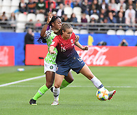 20190608 - REIMS , FRANCE : Norwegian Guro Reiten (R) and Nigerian Francisca Ordega (L) pictured during the female soccer game between Norway – the Grashoppene - and Nigeria – The Super Falcons - , the first game for both teams in group A during the FIFA Women's  World Championship in France 2019, Saturday 8 th June 2019 at the Auguste Delaune Stadium in Reims , France .  PHOTO SPORTPIX.BE | DIRK VUYLSTEKE