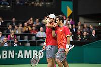 Rotterdam, The Netherlands. 16.02.2014.Jean-Julien Rojer(NED)/Horia Tecau(ROE)(L)  ABN AMRO World tennis Tournament<br /> Photo:Tennisimages/Henk Koster