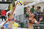 (L to R) Mutsumi Ozaki, Keiko Urata, MAY 6, 2012 - Beach Volleyball : JBV Tour 2012 Sports Club NAS Open  Women's third place mach at Odaiba Beach, Tokyo, Japan. (Photo by Yusuke Nakanishi/AFLO SPORT) [1090]