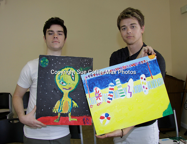 Eddie Alderson - One Life To Live and Chad Duell - General Hospital paint at 15th Soapfest 2014 painting party on May 24, 2104 gathered together to do paintings with guests and the proceeds went to charity - The weekend of events is held on Marco Island, Florida.  (Photo by Sue Coflin/Max Photos)