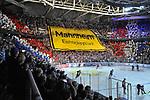 Choreografie der Adler Mannheim Fans beim Spiel in der DEL, Adler Mannheim (blau) - Duesseldorfer EG (gelb).<br /> <br /> Foto &copy; PIX-Sportfotos *** Foto ist honorarpflichtig! *** Auf Anfrage in hoeherer Qualitaet/Aufloesung. Belegexemplar erbeten. Veroeffentlichung ausschliesslich fuer journalistisch-publizistische Zwecke. For editorial use only.