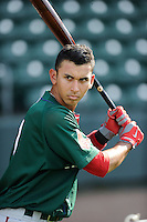 Infielder Javier Guerra (31) of the Greenville Drive during a preseason workout on  Wednesday, April 8, 2015, the day before Opening Day, at Fluor Field at the West End in Greenville, South Carolina. (Tom Priddy/Four Seam Images)