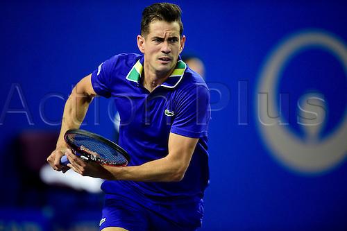 February 6th 2017, Montpellier, France; Open Sud de France tennis tournament;  Guillermo Garcia Lopez (Esp)