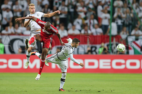 03.08.2016, Warsaw, Poland,  Igor Lewczuk (Legia), Lukasz Broz (Legia), Rangelo Janga (Trencin), Legia Warsaw versus AS Trencin, Champions League, qualification. The game  ended in a 0-0 draw with Legio going through on away goal.