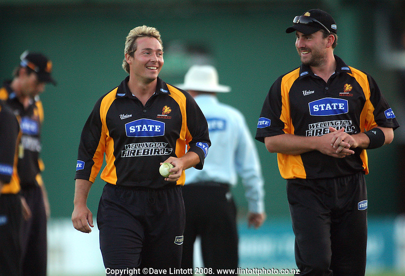 Graham Napier and Mark Gillespie smile as the Firebirds hold a commanding position entering the final over. State Shield cricket match. Wellington Firebirds v Canterbury Wizards. Allied Prime Basin Reserve, Wellington. Wednesday, 20 February 2008. Photo: Dave Lintott / lintottphoto.co.nz