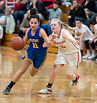 WINSTED,  CT-021119JS21- Housatonic's Sierra O'Niel (11) drives around Northwestern's Skylar Dimartino (11) during their Berkshire League game Monday at Northwestern. <br /> Jim Shannon Republican American