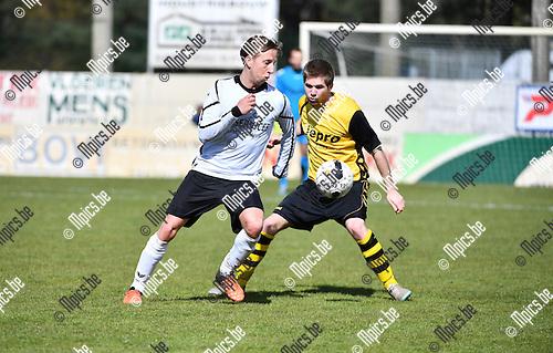 2016-04-24 / Voetbal / Seizoen 2015-2016 / KFC Lille - Zwarte Leeuw / Olivier Vertommen met Nicholas Appeltans (r. Lille)<br /> <br /> Foto: Mpics.be