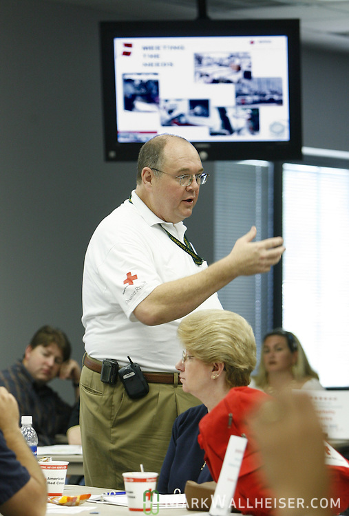 Chris Floyd, Director of the Tallahassee Chapter of the American Red Cross, conducts  the hurricane preparedness seminar for businesses July 6, 2006.