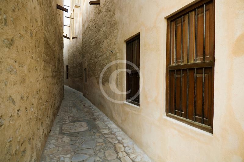 United Arab Emirates, Dubai, Alleyway in historic Bastakiya Quarter